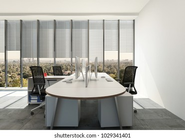 Modern office with triple workspace design around a single table desk in front of large view windows with blinds. 3d Rendering.