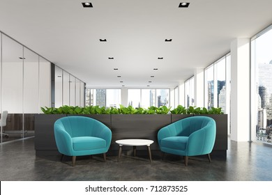 Modern office waiting area with blue armchairs, a coffee table, glass wall offices and a flower bed. 3d rendering mock up