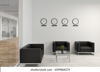 Modern office waiting room with soft black armchairs and a glass and white walls. Clocks with world cities time on them. Concept of business and cooperation. 3d rendering