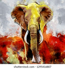 modern oil painting of elephant, artist collection of animal painting for decoration and interior, canvas art, abstract