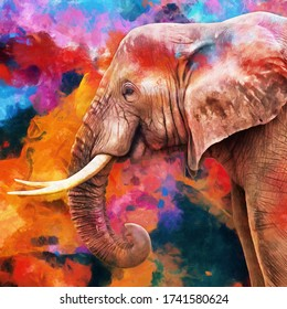 modern oil painting of elephant, artist collection of animal painting for decoration and interior, canvas art, abstract.