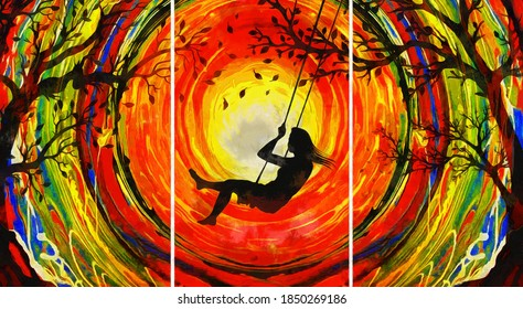 modern oil painting of happy girl on tree swing in autumn with leaves. colorful background. artist collection of interior painting for decoration, canvas art, sunset