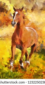 modern oil painting of horse runs, autumn, colorful, realistic