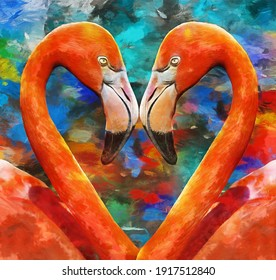 modern oil painting of lovely couple orange flamingos on blue background. artist collection of animal painting for decoration and interior, canvas art,