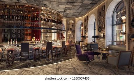 Modern Old Fashioned Restaurant Lounge Bar 3D Rendering, 3D Illustration