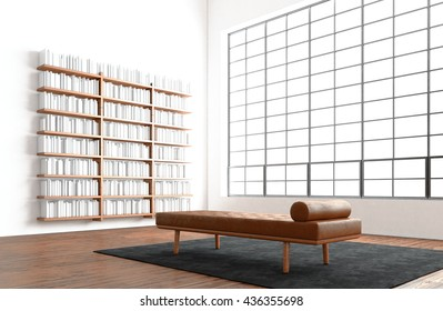 Modern open space interior studio huge panoramic window,natural color floor.Generic design furniture in contemporary lounge zone. Comfort sofa carpet center.Bookshelf blank white wall. 3D rendering