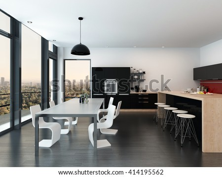 Modern Open Plan Kitchen And Dining Room Interior Decor With A Molded Suite Fitted Appliances Cabinets Bar Counter Floor To Ceiling