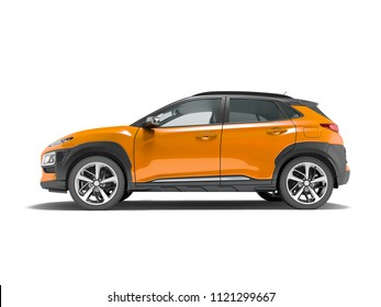 Modern orange car crossover 3d render on white background with shadow