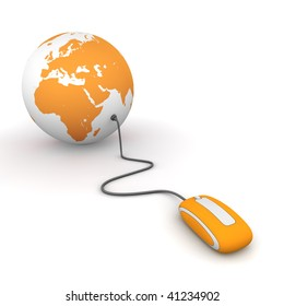 modern orange computer mouse connected to a orange globe