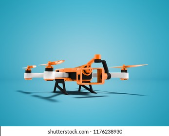 Modern orange quadrocopter drone view perspective 3d rendering on blue background with shadow