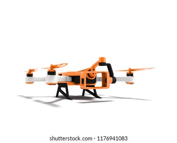 Modern orange quadrocopter drone view perspective 3d rendering on white background with shadow