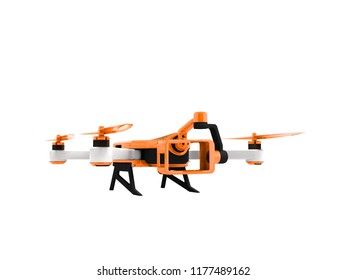 Modern orange quadrocopter drone view perspective 3d rendering on white background no shadow