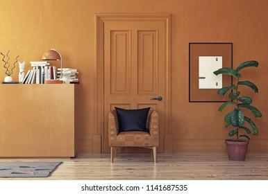 modern orange room  interior. 3d rendering color blocking concept