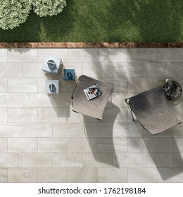 Modern outdoor design with stone tiles ,table and chair set, top view, 3D rendering, seamless, luxurious interior background.
