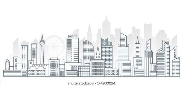 Modern outline line big urban city panorama background with flat color skyscrapers on background.