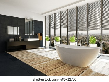 Modern oval bathtub in a luxury bathroom with light parquet floor and black feature wall with vanities lit by large panoramic view windows. 3d rendering.