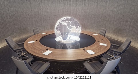 Modern oval meeting room with planet Earth globe 3D Rendering, 3D Illustration