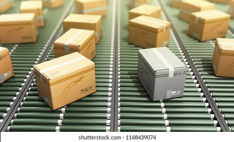 Modern Packages delivery packaging service and parcels transportation system concept loss of parcel cardboard boxes on conveyor 3d render