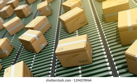 Modern Packages delivery packaging service and parcels transportation system concept cardboard boxes on conveyor 3d render