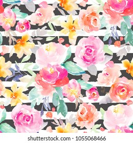 Modern, Painted, Seamless Flower Background Pattern with Peonies and Roses. Perfect for Fabric Designs