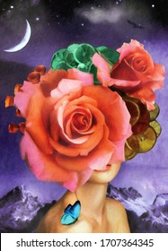 Modern painting Beautiful oil painting with flowers on a woman's head, Classic painting for interior decoration, art on canvas, cold Mountain, bird and moon in full stars