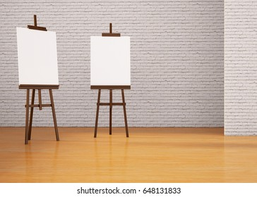 Modern Painting board Easel and wall Creative  Display in studio / 3d rendering