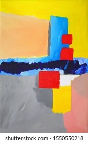 Modern Painting - Bricht Colors - Abstract Landscape - Blue, Red and Yellow