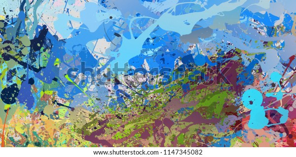 Modern painting wall art decor. Abstract drawing background. Design artwork. Brush strokes on canvas. Artistic pattern. Creative fashion print. Good as psychedelic poster. Surreal graphic abstraction.