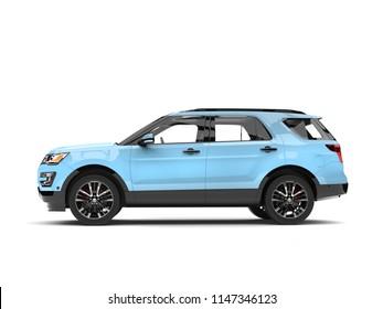 Modern pale blue SUV car - side view - 3D Illustration