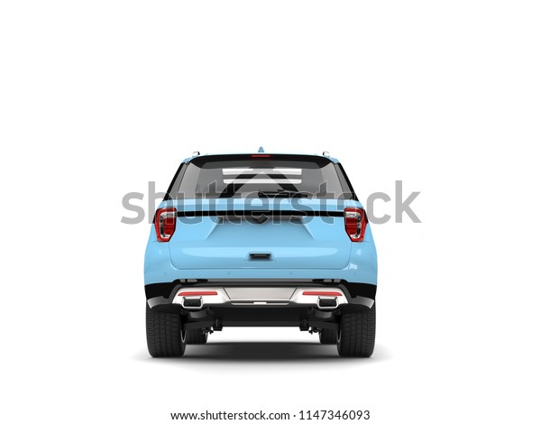 Modern pale blue SUV car - back view - 3D Illustration
