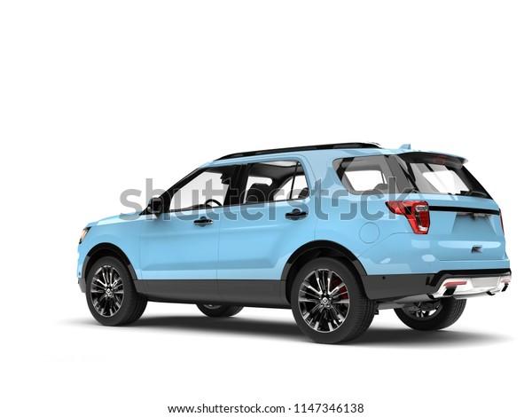 Modern pale blue SUV car - tail view - 3D Illustration