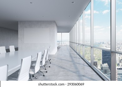 Modern panoramic conference room. A white rectangular table and chairs around it. Manhattan view, New York City. 3D rendering