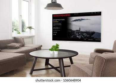modern panoramic smart tv on a 3d rendering living room with series streaming on screen