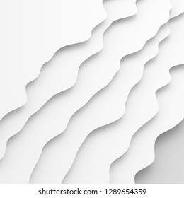 Modern paper art in abstract gray and white water waves forms.White blank. Realistic trendy craft style. Origami design template. 3d rendering - illustration.