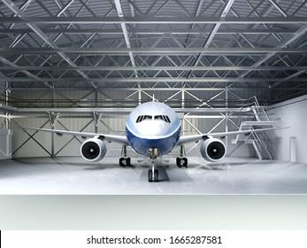 Modern passenger airliner in the hangar. 3D rendering.
