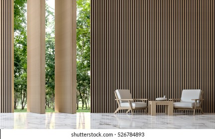 Modern peaceful living room in the forest 3D Rendering Image minimalist style white marble floor decorate wall with wood lattice,Walls can open a window with a twist for looking out to nature