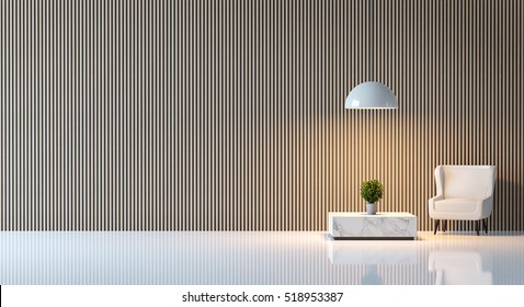 Modern peaceful living room/Modern  living room  minimalist style white floor decorate wall with wood lattice,basic Simple  bright and clean