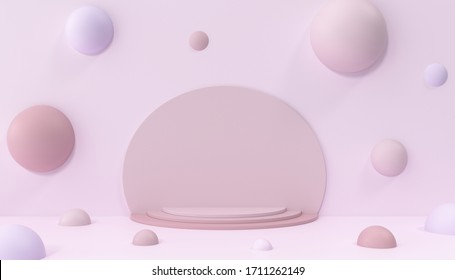 ピック背景にモダンな台座。抽象的なポジウム。3Dイラストの背景の泡をモックアップします。