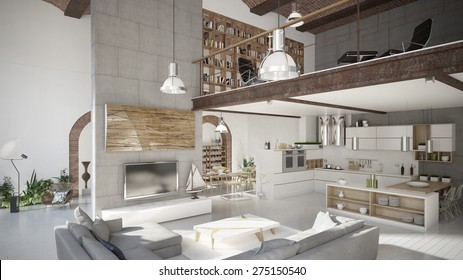 Modern penthouse apartment (3 d render using 3 d s Max)