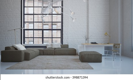 Modern penthouse living room with elegant sofa and working desk - 3 D rendering using 3 D S Max