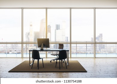 modern penthouse office with minimum furniture, windows floor-to-ceiling, wooden floor and cityview. 3D rendering