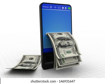 Modern phone with dollars isolated on a white background