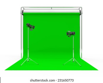 Modern Photo Studio with Green Screen and Light Equipment isolated on white background