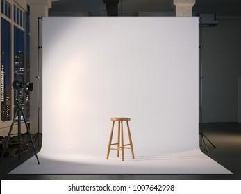 Modern photostudio with blank white screen and wooden chair. 3d rendering