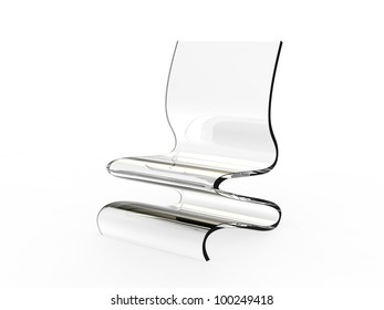 Modern plastic chair on a white background