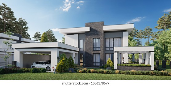 Modern private house, 3d rendering