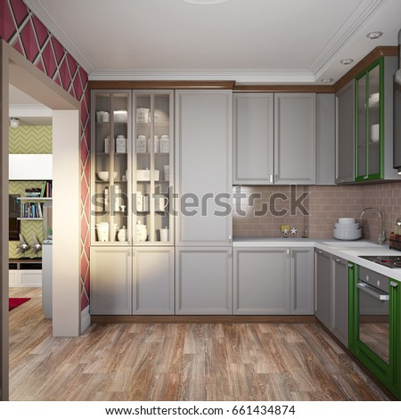 Royalty Free Stock Illustration Of Modern Provence Style Kitchen