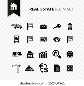 Modern Real Estate rental, sell and purchase icon set.