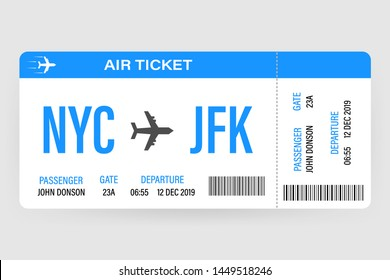Modern and realistic airline ticket design with flight time and passenger name. illustration.