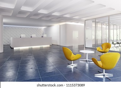 modern reception desk design. 3d rendering concept